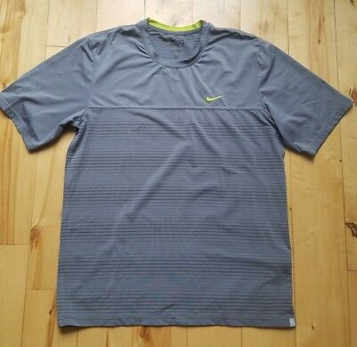 NiIKE DRI - FIT MENS TENNIS WORKOUT ATHLETIC SPORTS SHORT SLEEVE GRAY LARGE