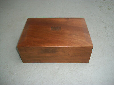 Vintage Solid Walnut Wood White Glass Lined Inside Cigar Humidor Box Beautiful