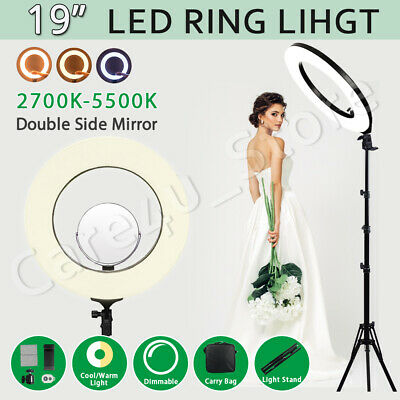 "19"" Dimmable LED Ring Light Diffuser with Stand Selfie Make Up Studio Kit Photo"