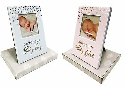 New Baby Photo Frame Gift Boy Girl Christening Present Pink Blue+Free Wrap Paper