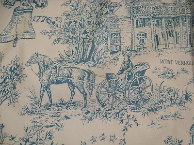 """VTG One PR 2 pc Williamsburg TOILE PLEATED DRAPES Thermal CURTAIN 44"""" x 36"""" Blue"""