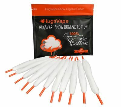HugsVape® Snow Cotton Laces | 20 PACK | PreLoaded Threads | Authentic | UK STOCK