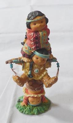 Friends of the Feather BRAVE SUPPORT Little Boys TOTEM POLE Enesco 1995 used