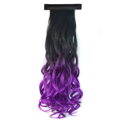 50 cm Long Curly Ombre Two Tone Clip In Ponytail Hair Extensions Black To Violet
