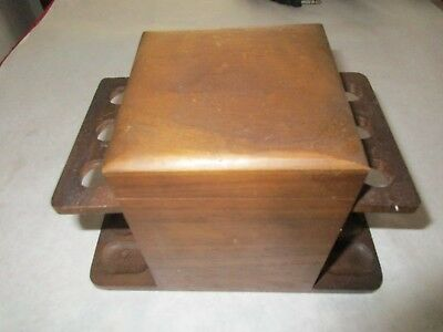 VINTAGE Wood Smoking 6 Pipe Holder Rack Stand with Humidor