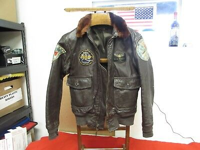 Vietnam era US Navy G-1 leather flight jaket with patches ID,ed.