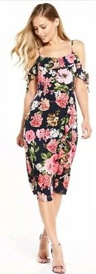 Size 10 Frill Front Midi Dress V By Very Bnwt Navy with pink flowers brand new