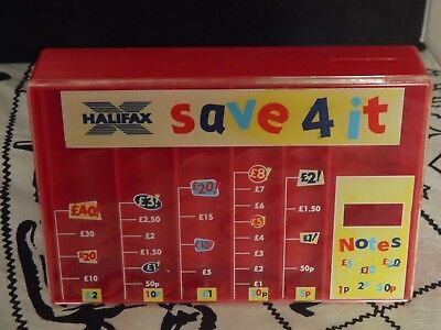 Vintage Halifax Red Save 4 It Coin Sorter Money Bank 5 inch tall Good Condition