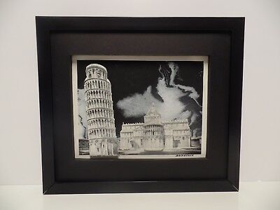 Original Oil Painting On Canvas Framed 3D Art Signed Leaning Tower Pisa 18 X 24