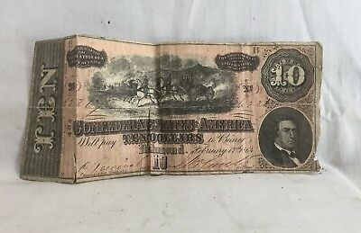 Orig. 1864 hand signed Confederate States America Richmond 10 Dollars Paper Bill