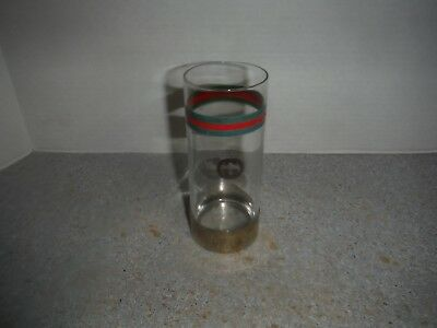1 Antique 1940's Gucci Italy Red Green Siver Highball Cocktail Barware Glass