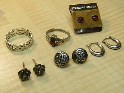 Lot of Sterling Silver Jewelry Celtic Ring Earrings Red Facet Claddagh