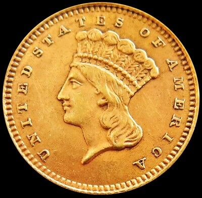 1887 Gold United States Princess Head $ 1 Dollar Coin -Type 3