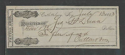 1883 Catlettsburg Ky Patton Bros Druggists { Fancy Antique Received / Receipt }