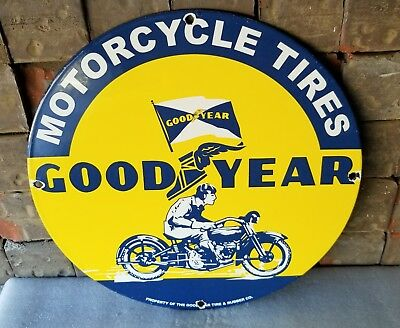 Vintage Goodyear Porcelain Gas Auto Motorcycle Tires Service Pump Plate Sign