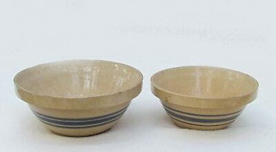 """Pair of Vintage Yellow Ware Nesting Mixing Bowls,Stoneware , 6"""" and 7"""" Blue Band"""