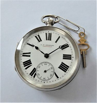 1900 Silver Cased English Lever Pocket Watch Working C F Knowles Sheffield