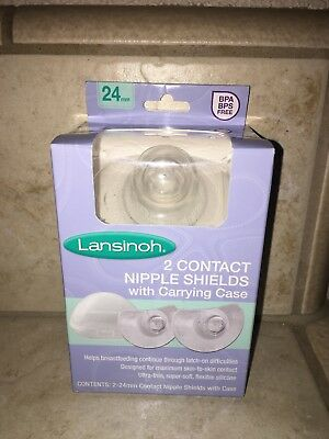Lansinoh Contact Nipple Shields 2 24mm w/ Carrying Case ~ Bpa Free NEW
