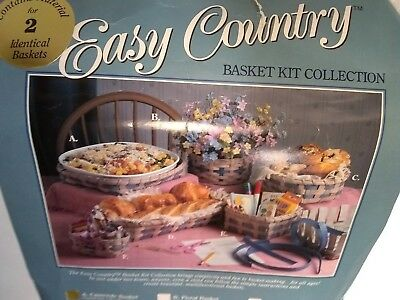 """Easy Country Basket Kit Collection Makes 2 Casserole 7"""" x 10"""" x 3"""" Baskets MIP"""
