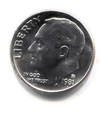 U.S. 1981 D Roosevelt Dime - Uncirculated American 10 Cents Coin - Denver Mint