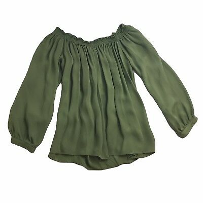 6ae92766f22 Artelier Nicole Miller Womens Top Small Green Silk Off the Shoulder NEW $265