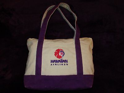 Vintage HAWAIIAN AIRLINES Embroidered PUALANI TOTE BAG - White & Purple Canvas
