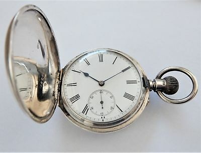 1884 Silver & Gold Cased Full Hunter 3/4 Plate Lever Pocket Watch Working