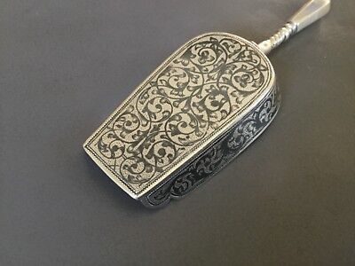 "Russian Niello Sterling Silver 4 1/2"" Tea Caddy Shovel signed GK 84 AP 1888 NICE"