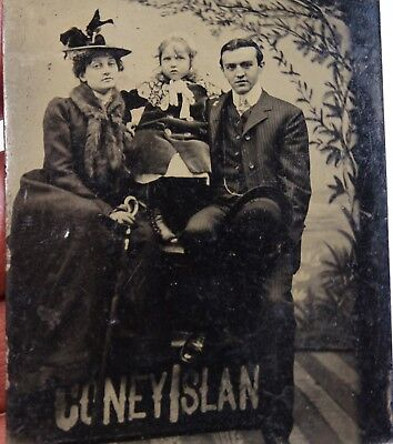 NICE Tintype Photo - Couple with Child - Coney Island NY Amusement Park ca 1890