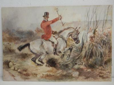 really old PAINTING water colour horse countryside scene