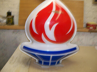 vintage 60`s 70`s amoco standard gas station sign flame 19.5 inches tall