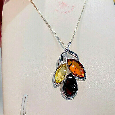 Genuine Russian Baltic Amber Pendant Butterscotch Egg Yolk Vintage Polish Silver