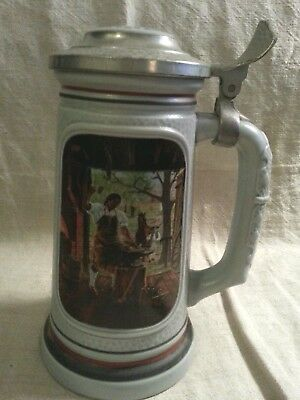 """1985 Avon Lidded Stein """" The Blacksmith """" Numbered - Great Front Design"""