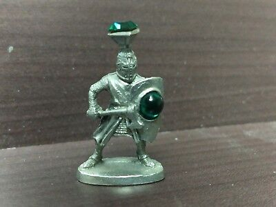 """Vintage 1"""" Perth Pewter Knight With Crystal"""