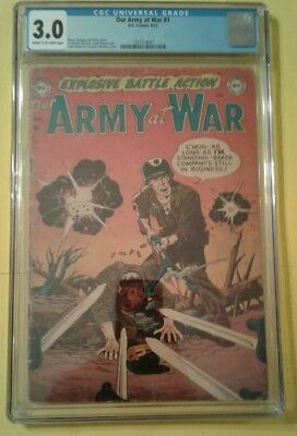 Our Army At War #1 Cgc 3.0 Dc Golden Age Carmine Infantino Cover Gil Kane Art
