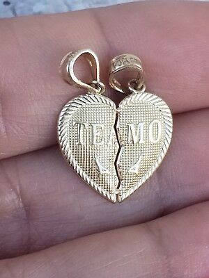 14K Solid Yellow Gold Te Amo Small Heart Split in half Charm Pendant .75""