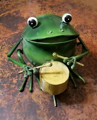 Frog Playing A Drum With Drumsticks Metal Art