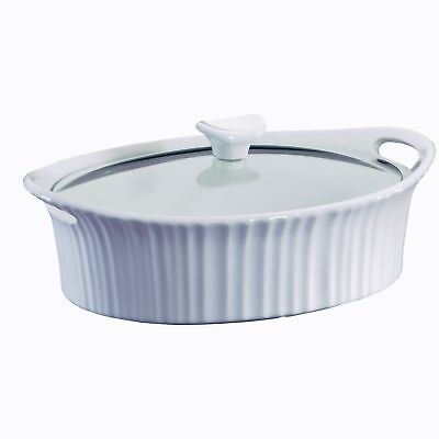 Casserole Dish With Glass Lid White Heavy Duty Oval Ceramic Microwave Safe