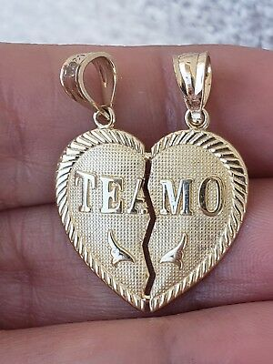 Gold Te Amo Heart Split Breakable  Charm Pendant 14k 1.0 inch long