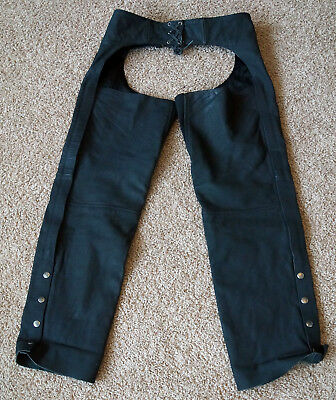 River Road Pants Black Leather Motorcycle Chaps - Adult M