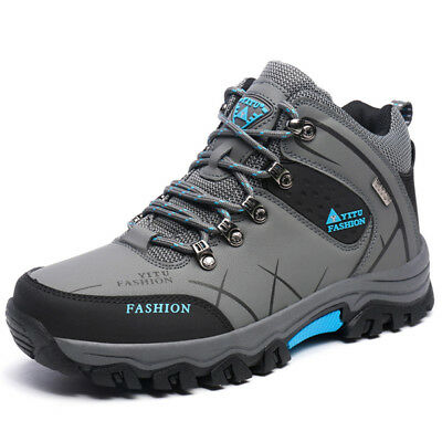 AU Mens Big Size Waterproof Hiking Shoes High Top Outdoor Hunting Trekking Boots