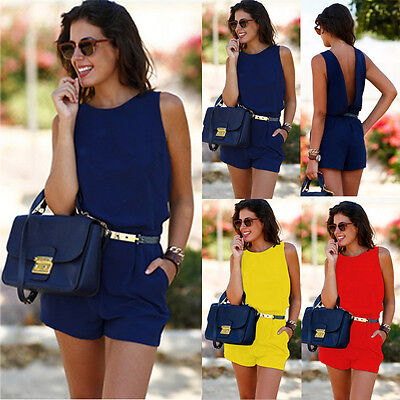 US Women Summer Casual Sleeveless Playsuit Ladies Short Jumpsuit Backless Romper