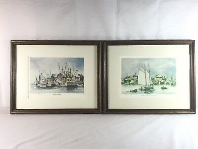 2 Signed Numbered Emerson Watercolor Carolina Shrimpers Charleston Harbour 1900