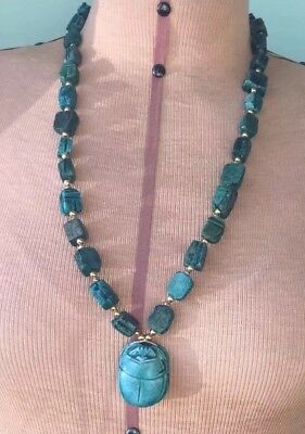 Vintage light blue Egyptian faience scarab beads beaded large pendant necklace