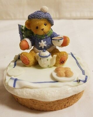 Cherished Teddies Bear Candle Topper Snowflake Hot Cocoa Cookies