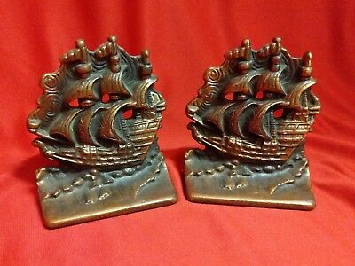 """Pair Of Vintage """"old Ironsides"""" Ship  Bookends Cast Iron W/ Copper Finish"""
