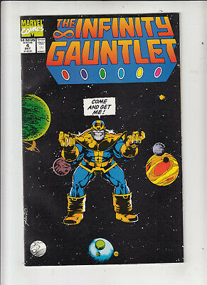 Infinity Gauntlet #4 (Marvel 1991) classic Thanos cover! VF-