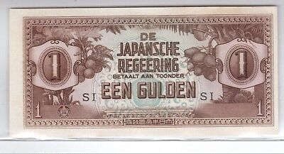 Een Gulden De Japansche Regeerring Unc. Bank Note Ww2 Indonesia Si