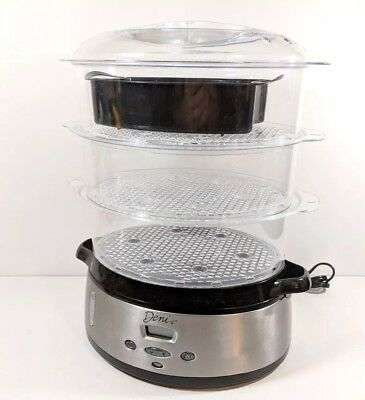 Deni Electric Food Steamer 3 Tier Model 7600 9.5 Qt Capacity 800w (ws1)