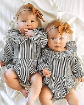 AU Newborn Baby Girls Long Sleeve Striped Romper Bodysuit Jumpsuit Outfits Set
